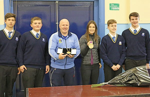 Pictured: Olympic Gold Medalist Michael Carruth (Barcelona 1992) and Olympic Gold Medalist Katie Taylor (London 2012) on a recent visit to Marian College with some senior Marian students.