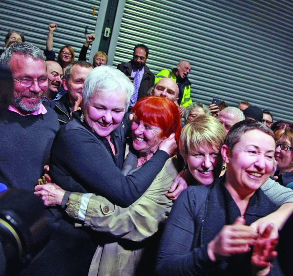 Pictured: NewsFour was present for the scenes of joy as the last constituency in Dublin was given its result. Bríd Smith, PBP AAA, celebrates with her supporters as victory sparks an outburst of emotional relief.