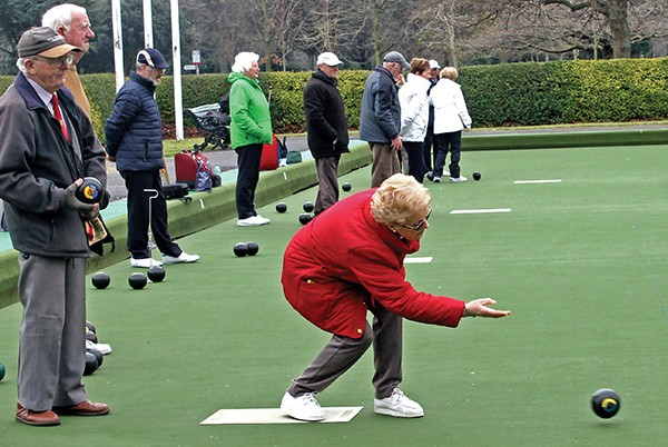 Pictured: Members of the Herbert Park Bowling Club practice for the upcoming Season.