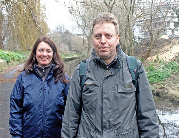 Above: Lorraine Bull and Tim Clabon from the IWT out on the Dodder.