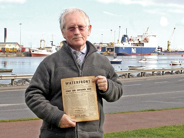 Pictured: Alan Martin with the first issue from February 1961 of 'Waterfront News'.