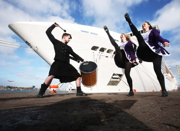 NO REPRO FEE 3/5/2016.Drummer Roana McBride with Irish Dancers Niamh McMahon and Sarah Quinn welcome   The spectacular 333m MSC Splendida , the longest ship ever to visit Dublin Port carrying over 4,600 passengers and crew on board into Dublin Port. MSC Splendida returned to Dublin early this morning offically marking the start of Dublin Port's 2016 cruise season, she is one of 113 cruise calls confirmed for Dublin Port this year a record number of cruise calls in a year for Dublin Port that will bring over 180,000 visitors. Photo: Leon Farrell/Photocall Ireland.