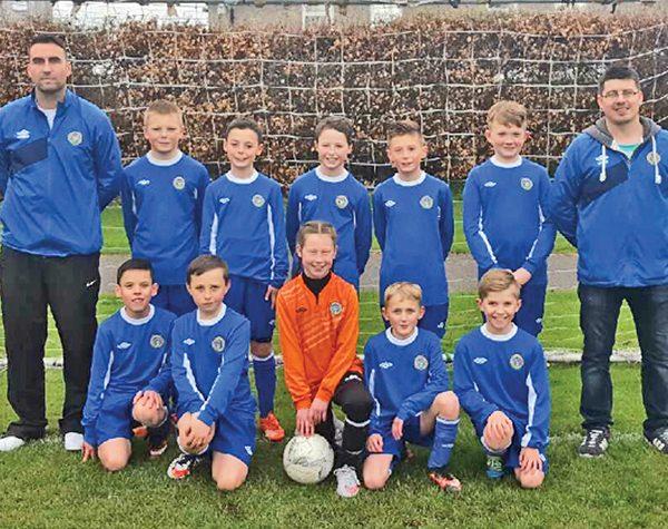 Above: The U11s Cambridge squad for the cup final versus Ardmore Rovers were Dylan Flood, Dylan Bissett, Jamie Maguire, Ben Raethorne, Shane Bridgeman, Oisin Carey, Callum Goad, Joshua Gorman, Jake Goad and Danielle Joyce.