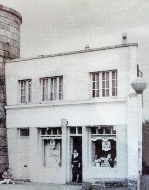 Above: Gabrielle Jones in the doorway of the Martello Tower Shop in its heyday.