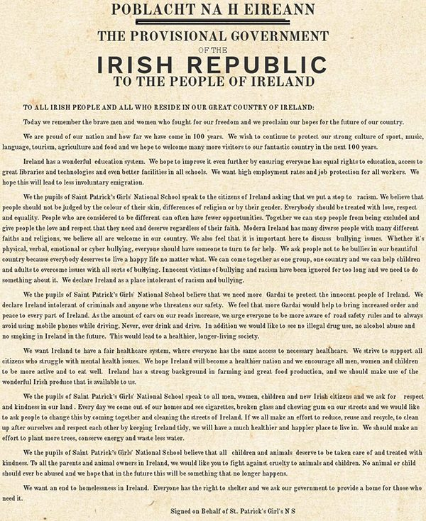 Below: The Proclamation by St Patrick's Girls N.S.