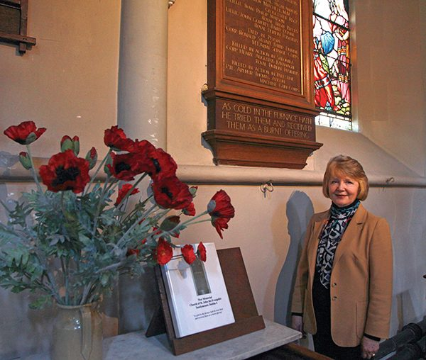 Pictured Above: Alyson Gavin beside the memorial at St. John the Evangelist Church, Sandymount. Photo by Maria Shields O'Kelly.