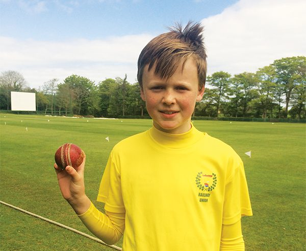 Left: Rory Honan who took a hat trick (three wickets with successive balls) for Railway Union Under-11's against The Hills C.C. in Skerries on May 15th. Lets hope this will the first of many!  Picture by Jules Fenton.