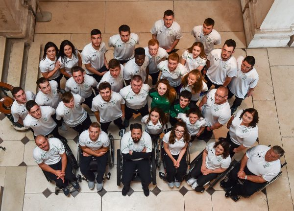 5 July 2016; The Irish Paralympic Team at the announcement of the Irish Paralympic Team for the 2016 Rio Paralympic Games at City Hall in Dublin. Photo by Paul Mohan/Sportsfile *** NO REPRODUCTION FEE ***
