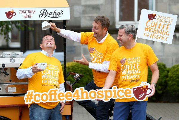 "19/8/16 ***NO REPRO FEE*** On yer coffee trike! Mario Rosenstock and Davy Fitzgerald saddle up for Ireland's Biggest Coffee Morning for Hospice 2016 Mario Rosenstock and legendary Clare manager, Davy Fitzgerald are calling on people across the country to get on board for Ireland's Biggest Coffee Morning for Hospice together with Bewley's on Thursday 15th September. Putting their barista skills to the test, the duo urged people to host a coffee morning or to share a cup of Bewleys' coffee to support their local hospice and their vital work caring for people in their local communities nationwide. To get involved visit www.hospicecoffemorning.ie or call 1890 717 000. Mario Rosenstock said, ""I've been delighted to be involved with the hospice for a few years now and in that time I've seen at first-hand the work they do and the care they give. To continue giving this care, hospice services across the country need vital funds and Ireland's Biggest Coffee Morning for Hospice is the one day when everyone can get involved and help them to do just that. Whether you host a coffee morning of your own or visit a local coffee morning to enjoy a Bewley's coffee, your support is key as every cup counts"". Pictured at the launch at Our Lady's Hospice, Harold's Cross were (l-r) Davy Fitzgerald, Mario Rosenstock and Mark Saunders, Brand Director at Bewleys Pic: Marc O'Sullivan"