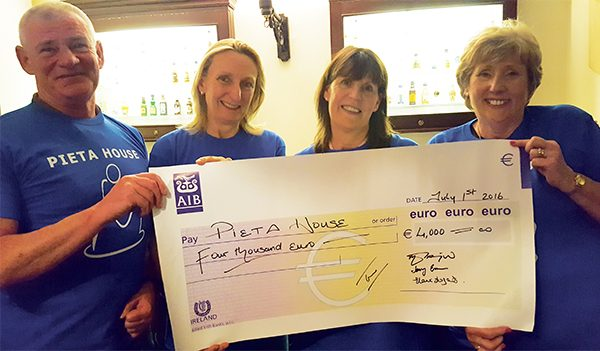 Above: Frank Carroll, Elaine Fogarty, Maxine Pilkington and Jenny Ennis with the cheque. Images courtesy of Pieta House.