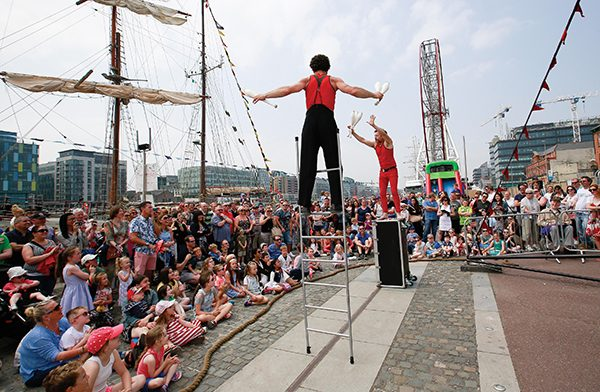 Pictured: Tumbles Circles Ken and Hillas entertaining some of the large number of visitors who thronged the quayside this year