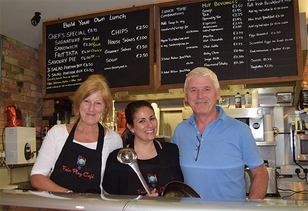 Pictured: Joe and Sharon Donnelly with Camile Lui at the Fair Play Cafe.