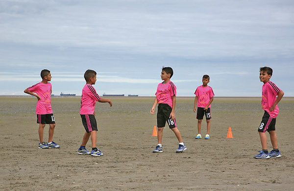 Above: Members of Gaza kid's football team on Sandymount Strand.