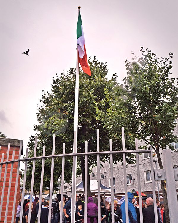 Pictured: The Tricolour flying above George Reynolds House.