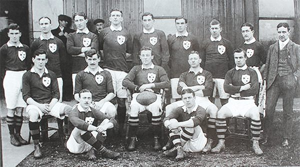 Pictured above: Irish team on which Ernest Deane (standing far left) played.