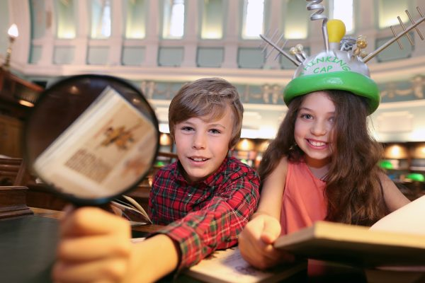 NO FEE  PIC MAXWELLS/JULIEN BEHAL Ava O'Brien (10) and Joshua O'Toole (9) show off their brain power for the launch of the 2017 All Ireland Credit Union Schools' Quiz in the reading room of Dublin's National Library. 25,000 children from across the country are preparing to take part in the event. Registration is now open at participating credit unions. For more info see www.schoolsquiz.ie. Pic Maxwells/Julien Behal No Fee
