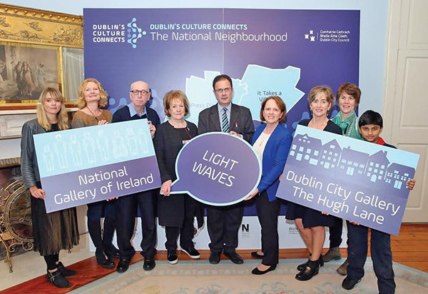 Pictured at the launch at the Mansion House on Sept 27th, of Dublin City Council's Dublin's Culture Connects: The National Neighbourhood are (l to r) Councillor Claire Byrne; Muirne Bloomer, CoisCéim Dance Company; Daron Smyth, Hugh Lane Gallery; Councillors Mary Freehill, Ruairi McGinley and Anne Feeney; with Barbara Dawson, director of the Hugh Lane Gallery; Philippa Donnellan, CoisCeim Dance Company; and Dodder Sea Scouts cub scout member Aayush Gajare (9). Photo by Marc O'Sullivan.