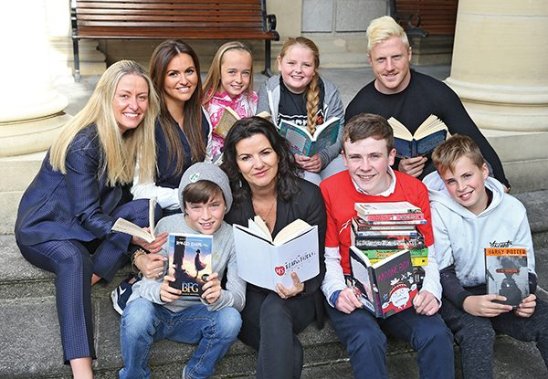 Pictured with the children of Glasnevin Primary School 5th Class are:  Back Row: Ava Battles, CEO of MS Ireland (far left); Jane Tracey – sister of James Tracey (second from left); Leinster Rugby player James Tracey (far right);  Front Row: Deirdre O'Kane comedian (second from left); David Rawle from Moonboy (in red t-shirt). Images courtesy of MS Society Ireland.