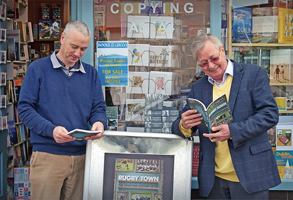 Pictured: Bookshop owner, Brian O'Brien, on left, and author Kurt Kullmann outside Books on the Green, Sandymount. Photo: Kevin O'Gorman.