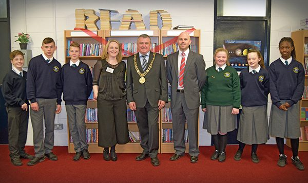 Above, left to right: Malcolm Denby, Nathan Purcell, Evan Kelch, Librarian: Lorna Vogelsang, Lord Mayor Brendan Carr, Principal: Tommy Brown, Jasmine Delaney, Rebecca Maher, Fathia Alade.