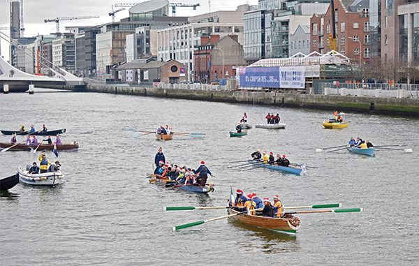 Pictured: Rowing boats on the River Liffey.