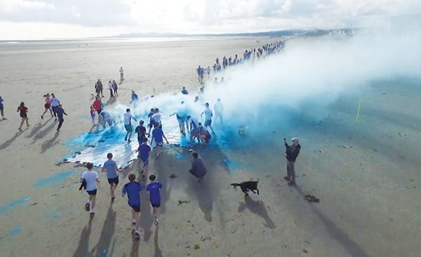 Above: A drone captures some blue paint messing on the run at Sandymount Strand! Drone picture courtesy of Sean Conway, Lorcan O'Colmain Murray, Roc Mehigan and John Gilsenan.