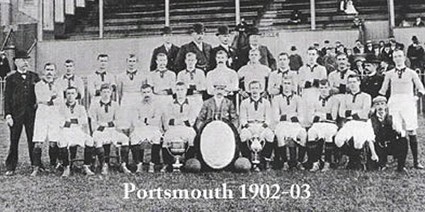 Pictured: The Portsmouth team lineup shortly before he left.